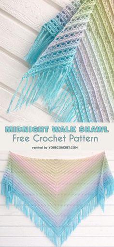 Midnight Walk Shawl Free Crochet Pattern #freecrochetpatterns #crochetshawl #summerstyle
