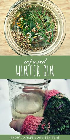 Infused Winter Gin This winter gin is infused with fresh foraged juniper berries, white fir, and lots of winter herbs and spices. It's refreshing and aromatic, and a perfect winter foraging recipe. Gin Recipes, Alcohol Recipes, Cocktail Recipes, Real Food Recipes, Healthy Recipes, Cooking Recipes, Homebrew Recipes, Homemade Alcohol, Homemade Liquor