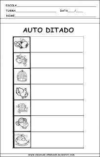 AUTO DITADOS E MODELOS DE FICHAS DE DITADO   Cantinho do Educador Infantil
