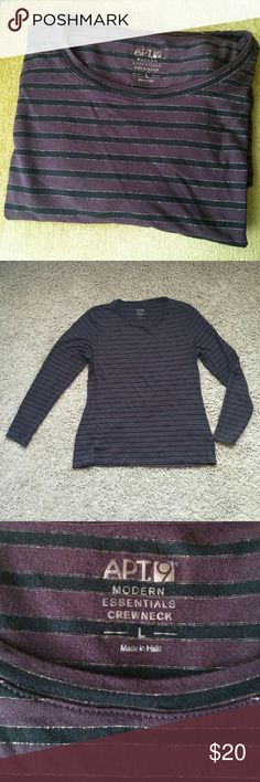 "Apt. 9 Long Sleeved Crewneck Apt. 9 Long Sleeved Crewneck Shirt, size L. Fitted. Like new condition - has slight pilling in under arm area. Striped pattern with plum and black with a shimmery gold accent. Would be great for layering. Approximate measurements Bust 19"" Length from neckline 20"" Apt. 9 Tops Tees - Short Sleeve"