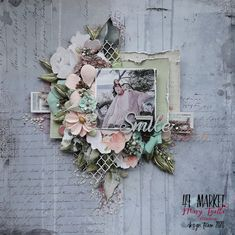 Art Designs by Mary: ''Love Your Smile'' - DT layout for 49 and Market March Inspiration Part 1 Scrapbooking Layouts, Scrapbook Pages, Love Your Smile, Pink Cotton Candy, Graphic 45, Vintage Shabby Chic, Finding Yourself, Floral Wreath, Bloom