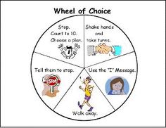 Wheel of Choice to stop tattle telling. Students have to try two things on the wheel before they tattle on someone.  I have got to make a wheel for my classroom!