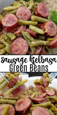Side dish recipes - Sausage Kielbasa Green Beans are an easy and delicious side dish recipe that is perfect to serve with any meal greenbeanrecipes kielbasa sidedishes delicious greatgrubdelicioustreats Dinner Side Dishes, Keto Side Dishes, Side Dishes Easy, Side Dish Recipes, Easy Thanksgiving Side Dishes, Camping Side Dishes, Italian Side Dishes, Crockpot Side Dishes, Easy Vegetable Side Dishes