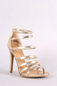 Anne Michelle Metallic Strappy Stiletto Heel