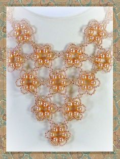 Beadweaving - Beadwork - Pearls in Peach Beadwoven Necklace - Seed Bead Jewelry