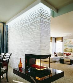 Engraved waves wall modern fireplace home decor and interior design