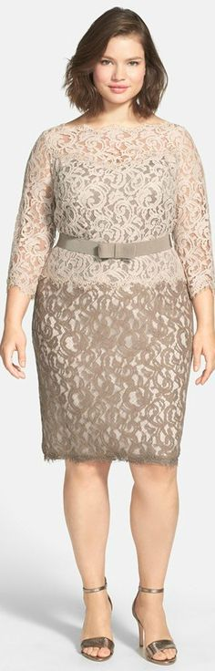Belted Lace Dress (Plus Size)
