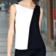 Blusa de moda blanco y negro Batik Dress, Office Outfits, Corset, Basic Tank Top, Lingerie, Tank Tops, Elegant, Sexy, Dresses