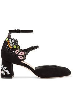 Sophia Webster | Liliana embroidered laser-cut suede Mary Jane pumps | NET-A-PORTER.COM