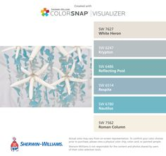 I found these colors with ColorSnap® Visualizer for iPhone by Sherwin-Williams: White Heron (SW Krypton (SW Reflecting Pool (SW Respite (SW Nautilus (SW Roman Column (SW Fixer Upper Paint Colors, Matching Paint Colors, Paint Colors For Home, House Colors, Beach Cottage Style, Beach House Decor, Paint Color App, Mexican Home Decor, Coastal Colors