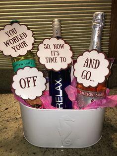 Retirement Gifts for Boss Male Retirement Gifts for Boss Male Alcohol Gift Baskets, Alcohol Gifts, Wine Gift Baskets, Basket Gift, Housewarming Gift Baskets, Teacher Retirement Gifts, Retirement Gifts For Women, Retirement Ideas, Gift For Retiring Teacher