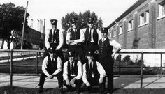 #ThrowbackThursday to a group of firemen posed at the Oshawa Armories ca 1930. Their names are unknown (A982.53.3).  .  .  #oshawa #oshawamuseum #vintage #tbt #firefighter #fireservice