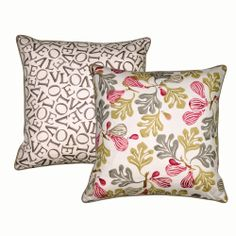"""I really like the fig pattern, both the colours and the design, and I like the LOVE side due to the way the letters are jumbled but you can still see the word. Description: """"Figs"""" Figs and Love Cushion Rose Pink/Moss and Grey at Emma Bridgewater, form the Sanderson Collection."""