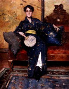William Merritt Chase, ca. 1888 The Blue Kimono (Girl in Blue Kimono)