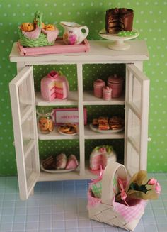 """Miniature Shabby Chic Cabinet Filled With Sweets (1"""" scale)"""