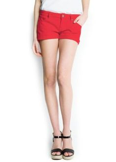 Mango Women's Dyed Denim Shorts, Red, 6 Red 6 MANGO. $29.99