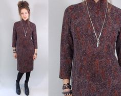 Vintage 1960s Brown Knit Cheongsam / 60s Dress by TimTomVintage