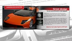Auto Shop InDesign Catalogue with vivid black and red theme, bold heading and titles, and large images.