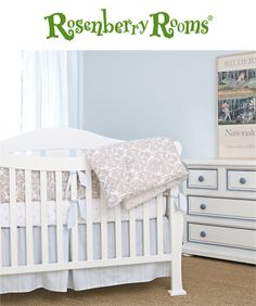 The Brocade Khaki Collection from Annette Tatum is the perfect nursery bedding for your little boy's room.    This collection is made from many different fabrics that give it a classic and soothing feel