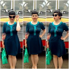 Teal, cat-eye and pillbox hat realness at Glasgow Vintage 2014