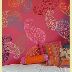 Stencils! I love this and HAVE to do it.  With these girly colors!  I need a girly room in my house full of testosterone!