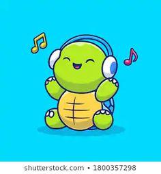 Cute Turtle Cartoon, Cute Cartoon, Cartoon Icons, Cartoon Styles, Girl Playing Violin, Happy Turtle, Graffiti Tagging, Cute Turtles, Hand Logo