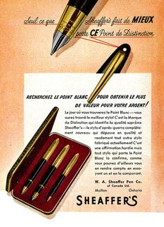 A French ad from 1948 for Sheaffer's pens.