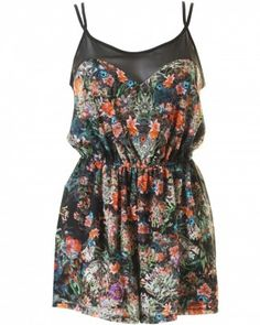 LOVE Black Printed Chiffon Yoke Playsuit - In Love With Fashion