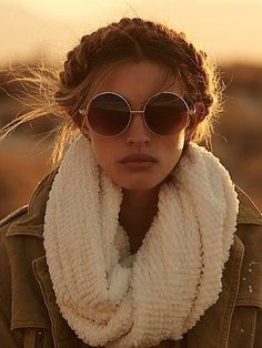 braid crown + round sunglasses