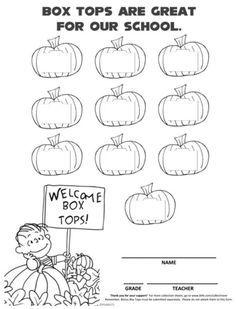 October It's the Great Pumpkin, Charlie Brown Halloween Peanuts Box Tops collection sheet. Pta School, School Clubs, School Items, School Stuff, School Life, School Days, Pta Programs, School Programs, School Donations