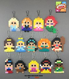 Our pixel style Princess Party Favors are a MUST for your party! Completely handmade from original Madam FANDOM Pixel Art, each Princess is topped off with your choice of a Zipper Pull (ideal for clipping to backpacks, purses, etc), magnet, or pin. Every Princess is handmade using