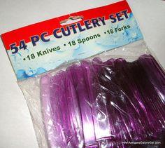 54 Piece Cutlery Set Purple Plastic Picnic by AntiquesGaloreGal