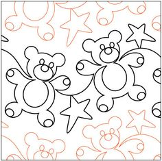 Gummy Bears quilting pantograph sewing pattern by Patricia Ritter of Urban Elementz