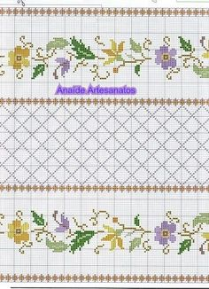 This Pin was discovered by ΕΛΕ Cross Stitch Borders, Crochet Borders, Cross Stitch Flowers, Cross Stitch Charts, Cross Stitch Designs, Cross Stitching, Cross Stitch Embroidery, Hand Embroidery, Cross Stitch Patterns