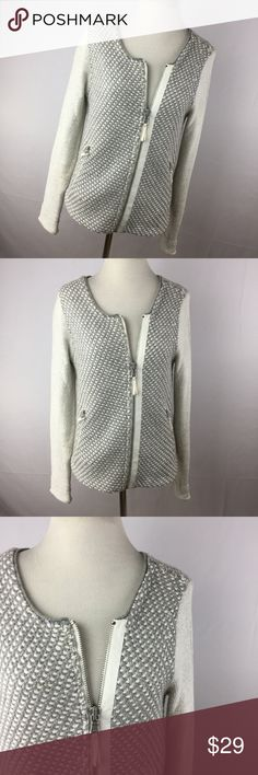 """Lou & Grey S Jacket Moto Motorcycle Gray Zip Up This is a great knit moto style jacket with a zipper front.  It is made from 40% rayon 21% wool 17% cotton 15% nylon 7% rabbit hair  Excellent condition!  Free from flaws!  Smoke free home!  Chest - 36"""" Length - 23"""" Sleeve - 25""""  (Y3) Lou & Grey Jackets & Coats"""
