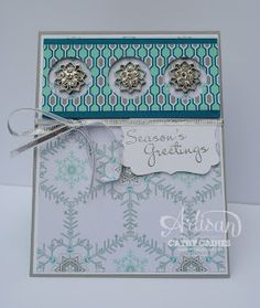 In The Cat Cave: Freshly Made Sketches 99  ;Stampin' Up! stamp set Festive FLurry & matching Framelits, Frosted Finishes Embellishments, silver ribbon