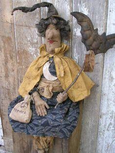 PatternMart.com ::. PatternMart: Fall Halloween Rag Stuffed Primitive Witch Doll and Bat Wand-SPPO Battella