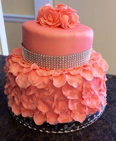 Rose petals and diamonds - Nana's 90th Birthday Cake