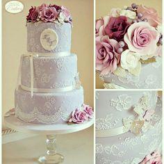 Kate - Lavender lace wedding cake
