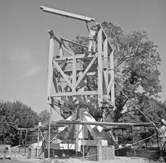 Pictures from an upcoming story on the restoration of the landmark windmill in Colonial Williamsburg, this group illustrating the original construction in 1956. http://bit.ly/1LDX1aq -- Mark St. John Erickson