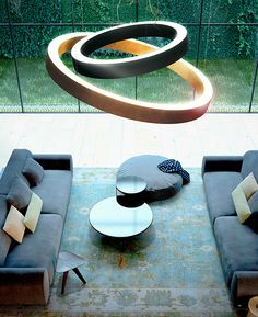 Direct-indirect light aluminium pendant lamp GOLDEN RING by PANZERI | #design Enzo Panzeri @Panzeri1947