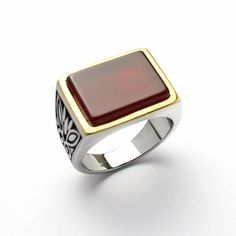 Winmax New Big Ruby Stone Ring For Man Stainless Steel Man's Classic Punk Jewelry Wholesale Price