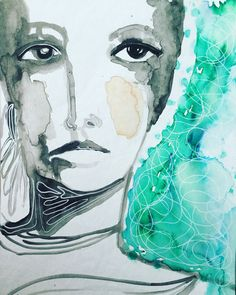 Watercolor and signo pen by Lisa Lieber