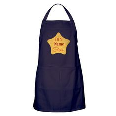 Patterned Yellow DIY Star Apron (dark), editable text, for personalized gift, project