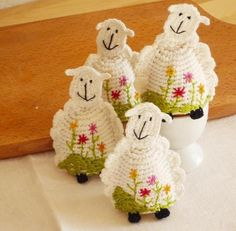 Crochet Sheep Egg Cozy Egg warmers Set of 2 by MonikaDesign Crochet Egg Cozy, Crochet Sheep, Easter Crochet, Crochet Animals, Crochet Dolls, Crochet Toys Patterns, Stuffed Toys Patterns, Yarn Crafts, Easter Crafts