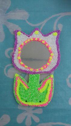 Bloemenspiegel met foamclay