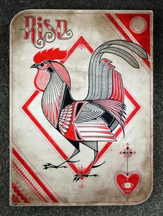 Rise - rooster with amazing red and black color palette and great hand drawn repeat pattern elements