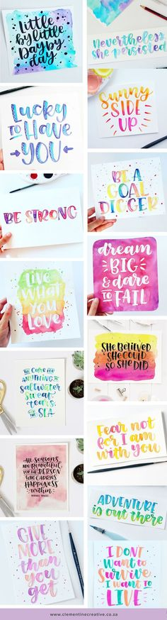 Colourful watercolour brush lettering by Carmia Cronje on Instagram