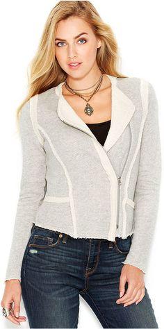 Lucky Brand Frayed Asymmetrical Jacket