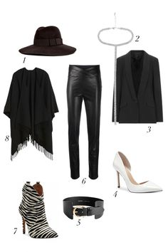 """Based on the current black leather trend inspired by the nineties and the """"Matrix"""" style, I picked some ideas from my favorite designers and I imagined these easy black leather looks using key pieces of the moment. I used options that work mostly day and night. It's a lot of black but the mix of different textures, volumes makes these looks interesting and brings relief out.#blackleathertrend #leatherskirtoutfit #leathercoatoutfit #leatherpantsoutfit #falloutfit #autumnoutfit"""